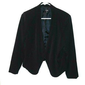 Apt 9 Blazer jacket black crop open front LS